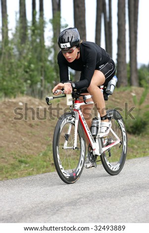 COEUR D'ALENE, IDAHO, JUNE 21: Triathlete  Caroline Steffen of Switzerland on the bike portion of the Coeur d'Alene Ironman Triathlon in northern Idaho on June 21, 2009,