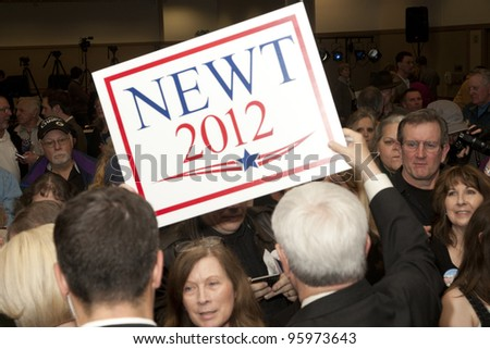 COEUR D'ARLENE, ID – FEB 23: Former speaker of the House and 2012 Presidential Candidate Newt Gingrich and his wife, Calista, speak to an enthusiastic crowd at the Coeur d'Alene Inn, ID, Feb 23, 2012