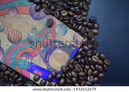 Coffe beans with background blue