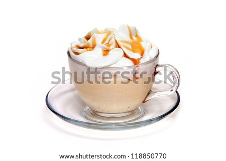 Coffe cocktail with caramel in glass cup
