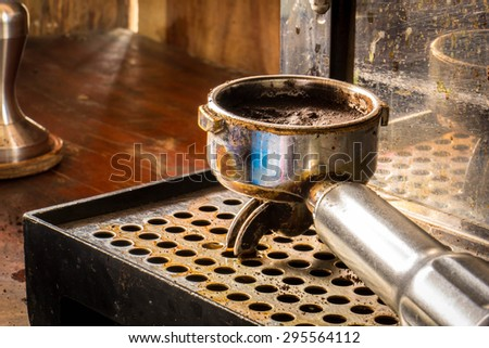 Coffee, a glass, measuring cup, coffee grounds, handles, tables, water, onion, Vintage.