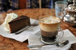 Coffee and cake at cafe in Vienna