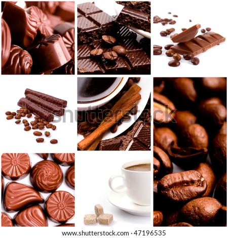 coffee and chocolate collection - stock photo