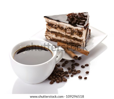 coffee and chocolate dessert with cinnamon isolated on white