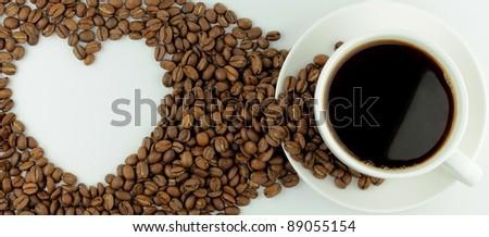 coffee and coffee bean heart