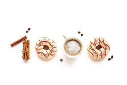 Coffee and donuts in 1000 sign. 1k likes, comments or followers, 1000 subscribers on social media, celebration achievement, creative flat lay on white background.
