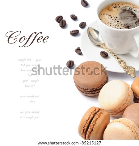 Coffee and French macaroons in brown tone - stock photo
