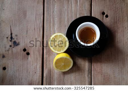 coffee and lemon on the table Stok fotoğraf ©