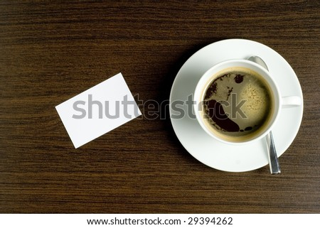 coffee and note card - stock photo