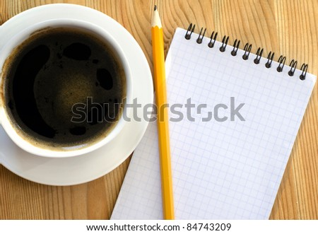 coffee and note on wood