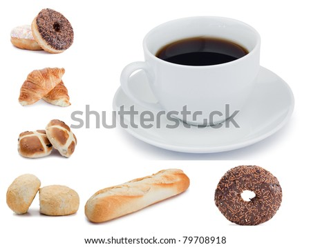 Coffee and pastries against a white background
