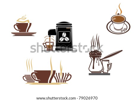 Coffee and tea symbols and icons for food design, such a logo. Vector version also available in gallery