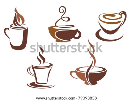Coffee and tea symbols and icons for food design. Vector version also available in gallery
