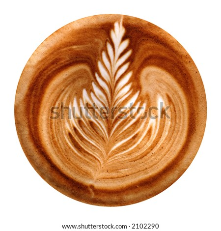 Coffee art / Cappuccino rosetta. Isolated. Perfect circular clipping path.