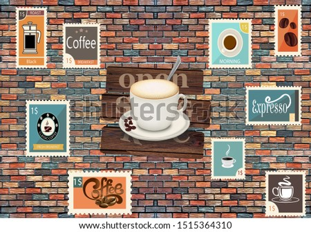 Coffee Background On Stone with Postage Stamps