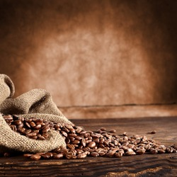 coffee background with grains and empty space