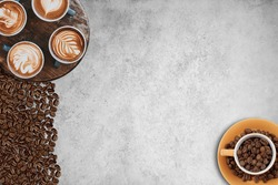 coffee background with space for text, cup of coffee on woodenbackground, Coffee background, top view