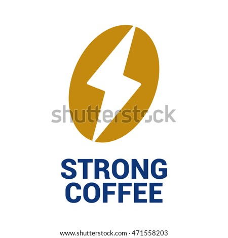 Coffee bean and power symbol. Cafe logo. Business logo template