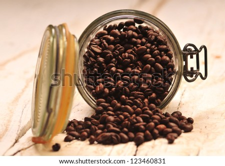 Coffee bean in jar on the wooden table