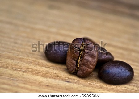 Coffee bean in wood background