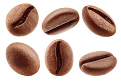 coffee bean isolated on white background, clipping path, full depth of field