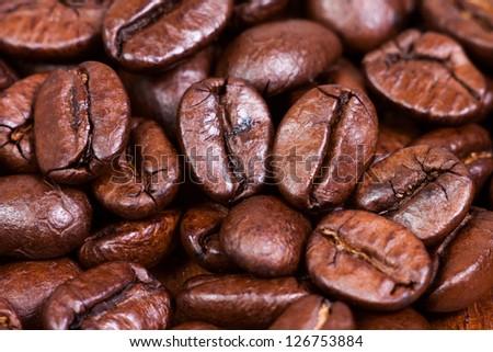 Coffee bean macro extream close-up shot