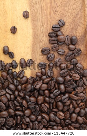 coffee bean on wood  background