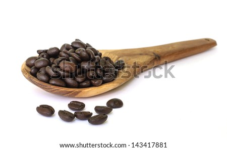 Coffee bean seed on wooden spoon isolated on a white background.