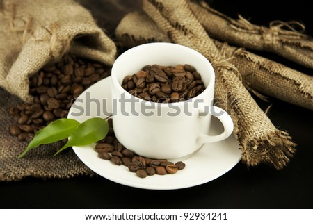 coffee beans and burlap