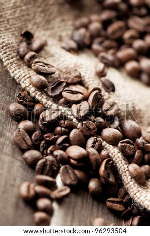 Coffee beans and burlap fabric