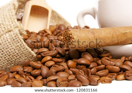 Coffee beans and cigar / Coffee