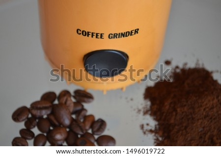 coffee beans and coffee beans grinder