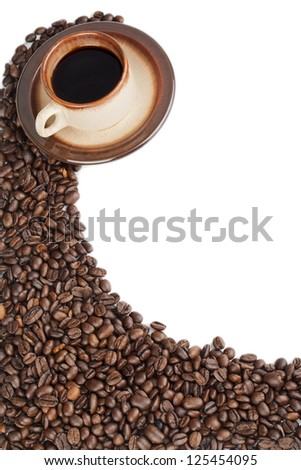 Coffee beans and coffee over the white background - stock photo