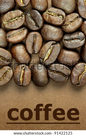 "Coffee beans and "" coffee "" text on brown background - stock photo"