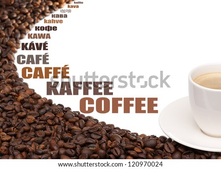 Coffee beans and cup with Coffee subtitles in many languages