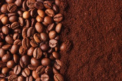 coffee beans and ground coffee. background