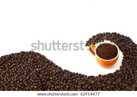 coffee beans and ground coffee on a white background