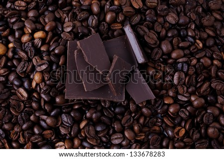 coffee beans and pieces of dark chocolate
