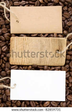 coffee beans and price tag with copy space
