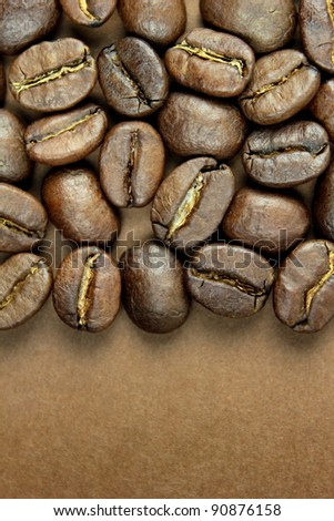 Coffee beans and space for text