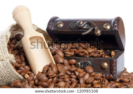 Coffee beans and treasure chest / coffee beans