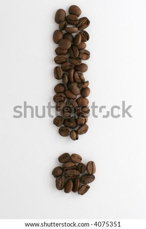 Coffee beans arranged as a exclamation mark