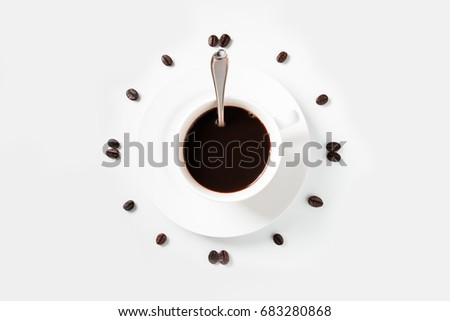 Coffee beans arranged on a white background., isolated on white background, Time fo Coffee #683280868