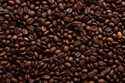 Coffee beans background. Background of roasted coffee beans