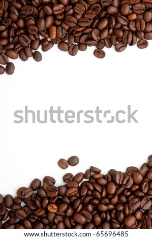 Coffee beans background, beautiful brown coffee beans and white background,top view