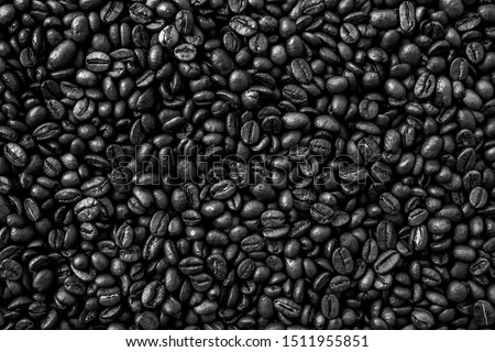 Coffee Beans Background. Black and white