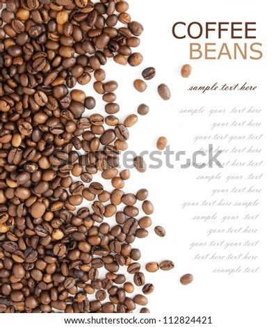 Coffee beans background isolated on white with sample text