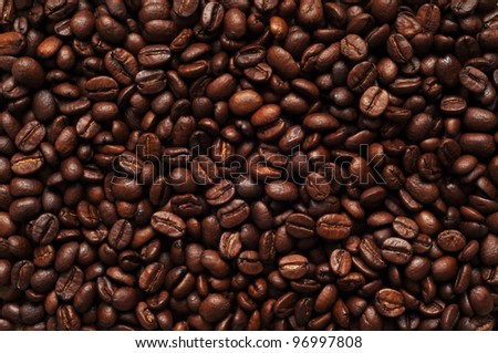 Coffee beans, background texture, close-up