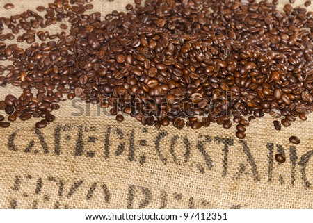 Coffee beans bag with coffee beans