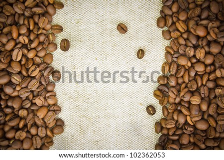Coffee Beans Border on Burlap, Hessian, Sacking Background